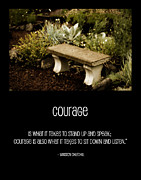 Stone Bench Framed Prints - Courage  Framed Print by Bonnie Bruno