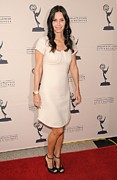 Beige Dress Framed Prints - Courteney Cox Wearing A Marc Jacobs Framed Print by Everett