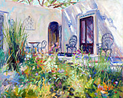 Casa Painting Originals - Courtyard Dalliance by Marie Massey