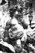 Statue Portrait Digital Art - Courtyard Statue of a Cherub French Quarter New Orleans Black and White Diffuse Glow Digital Art by Shawn OBrien