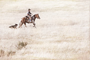 Ranch Life Prints - Cowboy and Dog Print by Cindy Singleton