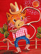 Cow Boy Paintings - Cowboy Kitten Rodeo by Jaime Torraco
