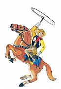 Western Pencil Drawing Posters - Cowboy with Lasso Poster by Glenda Zuckerman