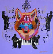 Music Themed Art Paintings - Coyote Harmony by Bill Manson