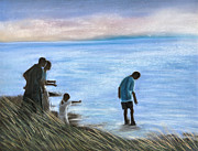 Water Pastels - Crab fishers by Jan Amiss