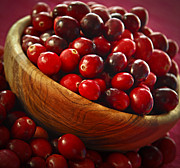 Health Food Framed Prints - Cranberries in a bowl Framed Print by Elena Elisseeva