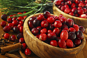 Wooden Bowls Prints - Cranberries in bowls Print by Elena Elisseeva