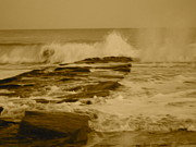 Winter Storm Photos - Crashing Waves by Joe  Burns