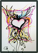 Drawing Pastels Framed Prints - Crazy Heart Framed Print by Jon Veitch
