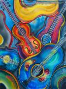 Guitars Painting Framed Prints - Crazy Strings Framed Print by Cheryl Ehlers