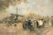 Car Painting Framed Prints - Cream Cracker MG 4 Spitfires  Framed Print by Peter Miller