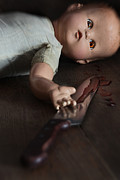 Abducted Framed Prints - Creepy doll with bloody knife  Framed Print by Sandra Cunningham