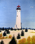North American Lighthouses - Paintings By Frederic Kohli - Crisp Point Lighthouse by Frederic Kohli