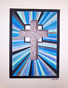 Crucifix Art Mixed Media Prints - Cross Crucifix Print by Woulstain Creado