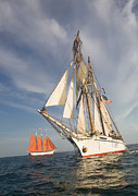 Tall Ships Prints - Crossing Paths Print by Cliff Wassmann