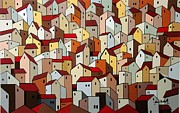 Architectural Landscape Paintings - Crowded by John Chehak