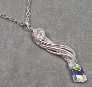 Futuristic Jewelry - Crystal Shard Twisted Teardrop Pendant by Heather Jordan