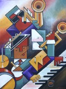 Music Paintings - Cubist Jazz and a Real Shot of Whiskey by Bob Gregory