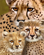 Cheetahs Digital Art Posters - Cubs Poster by Frances Guzzetta