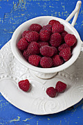 Red Fruit Art - Cup full of raspberries by Garry Gay