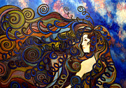 Abstract Impression Paintings - Curly girl by Monica Furlow