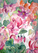 Red Leaves Drawings - Cyclamen by Mindy Newman