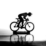 White Prints - Cyclist Print by Bernard Jaubert