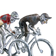 Metallic Photo Prints - Cyclists Print by Bernard Jaubert