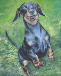 Tan Dog Prints - Dachshund Print by Lee Ann Shepard