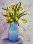Blue Vase Painting Posters - Daffs Poster by Jean Billsdon
