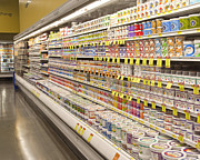 Grocery Store Prints - Dairy Aisle in a Grocery Store Print by David Buffington