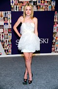 Strapless Dress Prints - Dakota Fanning Wearing Marchesa Dress Print by Everett
