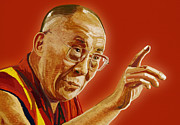 Thinking Person Prints - Dalai Lama Print by Setsiri Silapasuwanchai