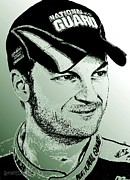 Celebrity Posters Mixed Media - Dale Earnhardt Jr in 2009 by J McCombie