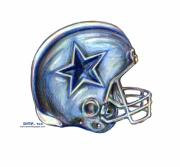 Colored Pencil Drawings Posters - Dallas Cowboys Helmet Poster by James Sayer