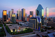 Dallas Skyline Posters - Dallas Skyline At Dusk Poster by Jeremy Woodhouse