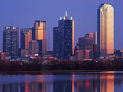 Office Space Art - Dallas Skyline Reflected in Pond at Dusk by Jeremy Woodhouse