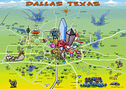 Caricature Painting Framed Prints - Dallas Texas Cartoon Map Framed Print by Kevin Middleton