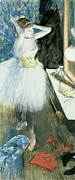 Interior Pastels Posters - Dancer in her dressing room Poster by Edgar Degas