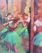 Ballet Dancers Painting Framed Prints - Dancers - Pink and Green Framed Print by Pg Reproductions