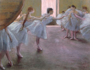 Women Pastels Posters - Dancers at Rehearsal Poster by Edgar Degas
