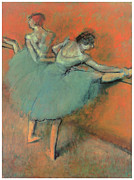Ballet Dancers Paintings - Dancers at the Bar by Edgar Degas