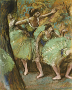 Ballerina Pastels Framed Prints - Dancers Framed Print by Edgar Degas