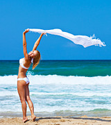 Dancing Girl Posters - Dancing happy girl on the beach Poster by Anna Omelchenko
