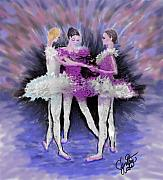 Ballet Dancers Digital Art Prints - Dancing in a Circle Print by Cynthia Sorensen