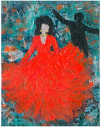 Greeting Cards Ovarian Cancer Painting Prints - Dancing Joyfully With or Without NED Print by Annette McElhiney