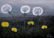 Flower Field Paintings - Dandelion Family by Judy Kirouac