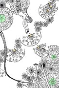 Dandelion Drawings - Dandelion Mermaid by Random Merlin Ellis
