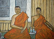 Buddhism Pastels Metal Prints - Danny Metal Print by Reb Frost