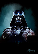 Movie Mixed Media Prints - Darth Vader Star Wars  Print by Michael Greenaway